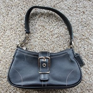 Coach black leather small handbag